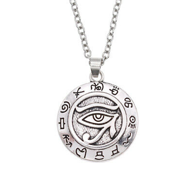 Silver Egyptian Eye Of Horus Necklace Metal Pendant Unisex Women Men Jewelry