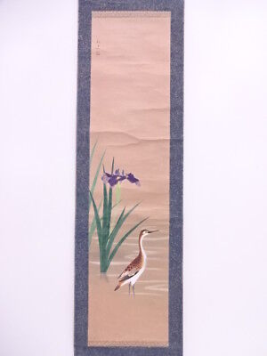 3675553: Japanese Wall Hanging Scroll / Hand Painted / Bird With Iris Artist Wor