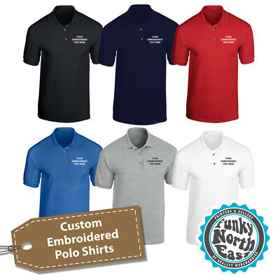 Custom Embroidered Polo Shirt Personalised With Your Text Workwear Uniform Polo