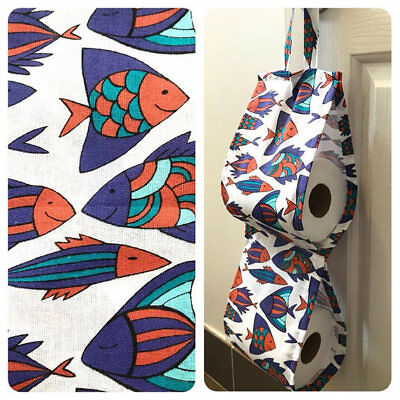 Double Toilet Roll Holder/ Toilet Paper Holder/ Bathroom Storage - Blue Fish