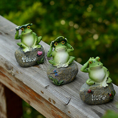 Garden Frogs 3 Figurine Statue Stone Outdoor Decor Yard Home Lawn Gift Model