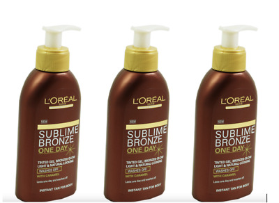 L'OREAL 3 x 150ml Sublime Bronze INSTANT TAN One Day FAKE TANNING Tinted Gel