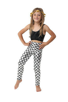 Girls Metallic Fish Scale Leggings Mermaid Kids Shiny Foil Childrens Silver 5-13