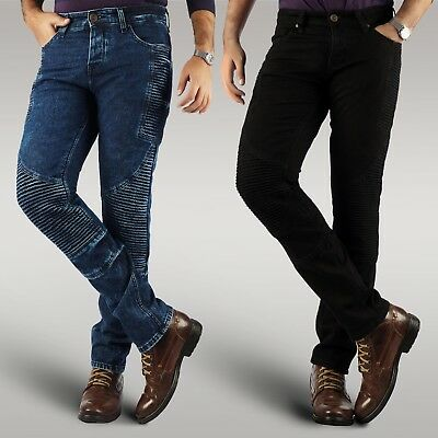 Men's motorbike motorcycle stretch denim jeans protective aramid slim fit pants