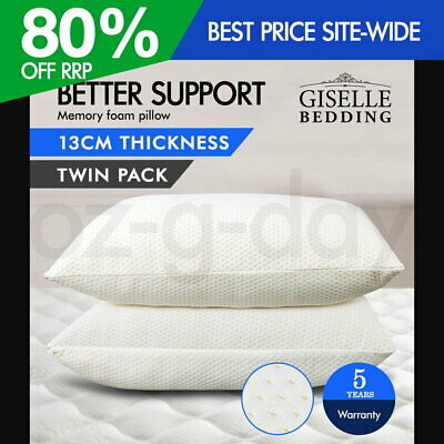 Giselle Bedding 2X Pack Deluxe Visco Elastic Memory Foam Pillow Home Hotel