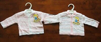 Baby Knitted Cardigan Boys Girls White Pink Blue Long Sleeved 0-3 3-6 6-9 Mths