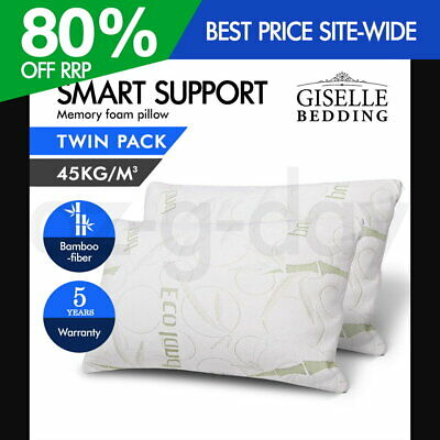 Giselle 2x ECO LAND Contour Bamboo Pillow Memory Foam Cover 70 x 40 cm