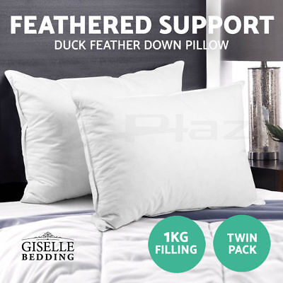 Giselle 2x Duck Down Feather Pillow 73 x 48cm Cotton Cover Twin Pack Hotel