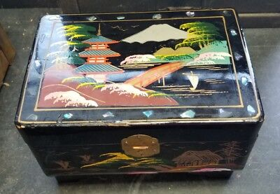 Antique black Japanese Wooden Jewelry Box, shell specs  Inlay mirror music lined