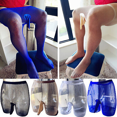 Men Mesh Sheer Pantyhose Penis Sheath Pouch See Through Body Stocking Underpants