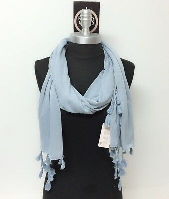 Women Long Scarf Solid jersey w/ tassels Soft Wrap Shawl Perfectly Adjusted Blue