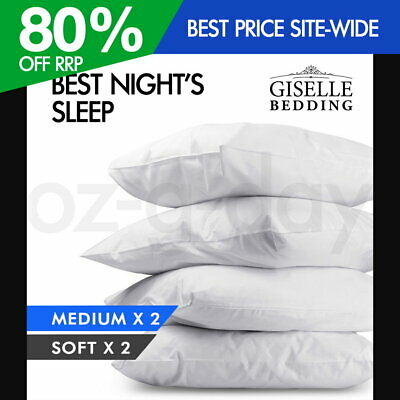 Giselle 2x Soft + 2x Medium Pillow Family 4 Pack Bed Cotton 48X73CM Hotel