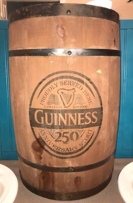 Large 24'' Guinness Barrel Sign Wall Hanging Free Standing Oak Wood Bar Decore