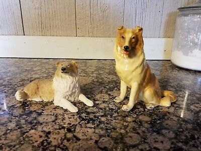 Set of two sable rough collie figurines