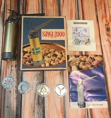 VINTAGE SAWA 2000 DELUXE COOKIE PRESS MADE IN SWEDEN BOOKLET and BOX