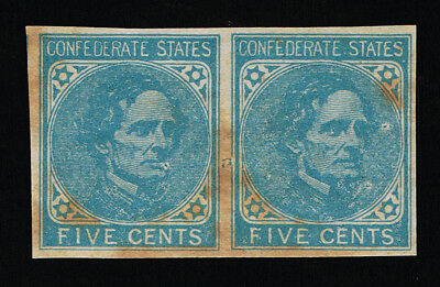 Genuine Confederate Csa Scott #7 Pair Mint Og H Lip Scar Variety On Left Stamp