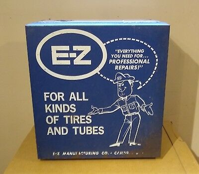 E-Z Tires & Tubes Vintage Original Auto Parts Service Station Cabinet +Contents