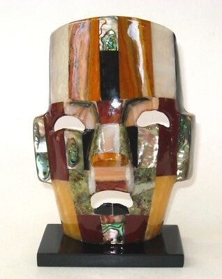 Mexican Aztec Mayan Stone Abalone Mosaic Death Mask Face Onyx Inlay Home Decor