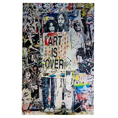 "Mr. Brainwash Original ""John & Yoko Art Is Over Here"" Lithograph Print Poster"