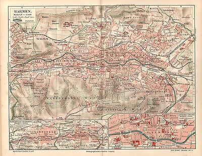Barmen historischer Stadtplan 1910 mit Register Wuppertal City Map