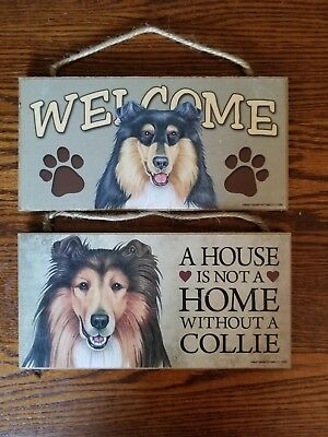 Set of two rough collie signs