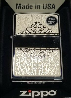 Zippo Full Size High Polish Chrome Floral Design Classic Windproof Lighter 28467