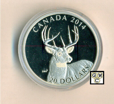 2014 White-Tailed Deer-Portrait Proof $20 Silver Coin 1oz .9999 Fine (14007)OOAK