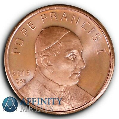 2013 Pope Francis I Copper Round .999 Pure Copper 1 Ounce Bullion