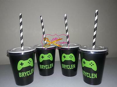Video Game Birthday Party Cups with lids and straw,   boy/girl