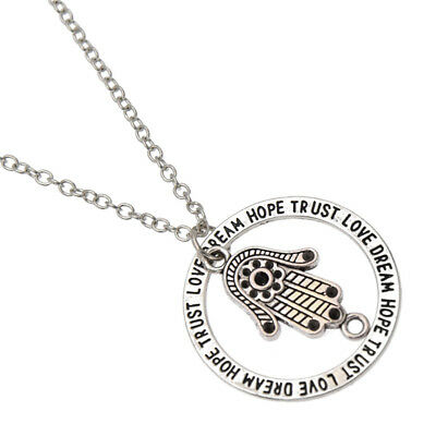 Hand of Fatima Evil Eye Hand Symbol Pendant Necklace Women Men Lucky Jewelry
