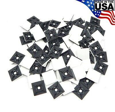 "Zip Cable Tie Adhesive Mounting Base Pad 1"" 100pc Made in USA Mount"