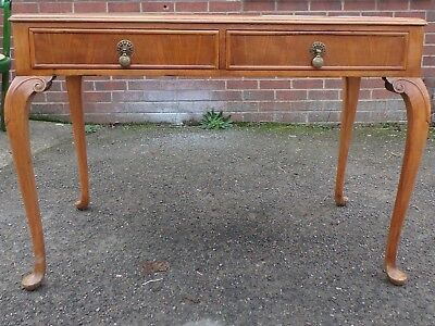 Art Deco antique Bath Cabinet Makers leather inset walnut 2 drawer writing table
