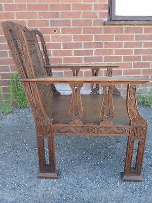 Victorian antique Chinese solid mahogany dragon carved library elbow armchair
