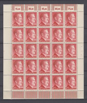 WWII  Third Reich A.Hitler complete sheet 3 ReichMark MNH Luxe
