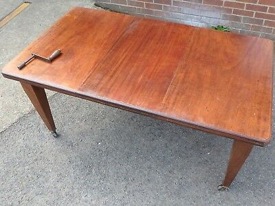 Victorian antique compact solid mahogany 1 leaf extending dining table seats 8