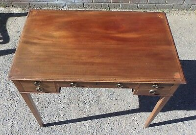 Antique George III Sheraton solid mahogany inlaid writing library table desk