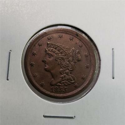 1855 Braided Hair Half Cent - Uncirculated -Great Looking Piece -Tough This Nice