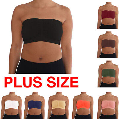 6fb6e1e69b9 Womens Plus Size Strapless Padded Bra Bandeau Tube Top Removable Pads  Seamless