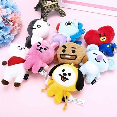 Kpop BTS Bolster Bangtan Boys Plush Toy Same Standing Doll key Chain Keyring