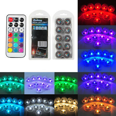 8pcs/12pcs Battery Operated Waterproof Outdoor Submersible LED Light Party RGB