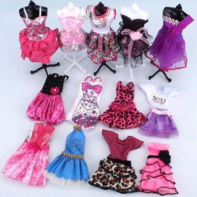 5PCS/Lot Barbie Clothes Outfits Coat Style Dress Skirt Clothing for Doll Set