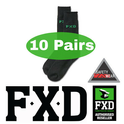 10x Pairs FXD Bamboo Thick Boot Work Socks Workwear SK-5 BLACK Size 7-12