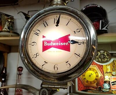 Amazing Vintage Budweiser Lighted Rotating Pocket  Watch Clock w/ Mystery Dial!
