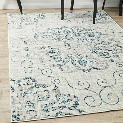 Stadia Stunning Bohemian Ivory Blue Modern Floor Rug - 4 Sizes **FREE DELIVERY**