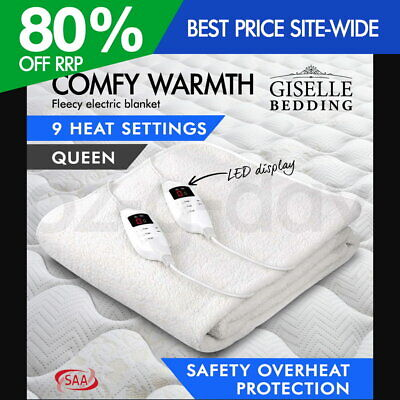 Giselle Fleecy Electric Blanket Heated Fully Fitted Washable Queen Bed