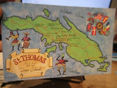 vintage old postcard us virgin islands saint st thomas cartoon map flags drummer
