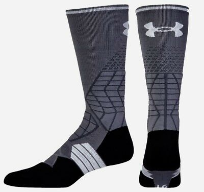 UNDER ARMOUR Highlight Crew GREY Football Socks Fits Mens Youth M 4-8.5 L 9-12.5