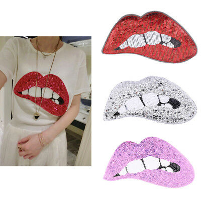 Sexy Lips Sequins Patch Iron On Applique Clothing Fabric DIY Sewing Craft Badge