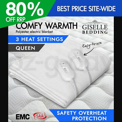 Giselle Bedding Polyester Electric Blanket Heated Fully Fitted Warm Bed Queen