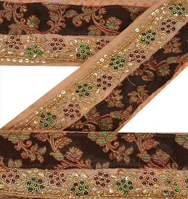 Vintage Sari Border Antique Hand Beaded 1 YD Indian Trim Sewing Beige Lace
